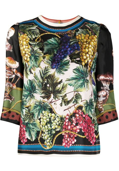 Blusa in seta con stampa autunnale multicolore DOLCE & GABBANA | Camicie | F7ZU4T-GDV90S9473
