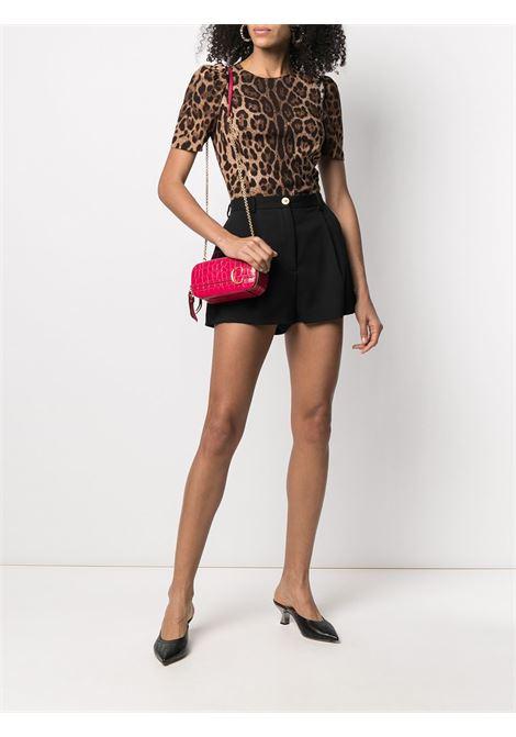 Blusa in velluto girocollo leopardata con arriciattura sulle spalle DOLCE & GABBANA | Camicie | F7ZY1T-FSRKIHY13M