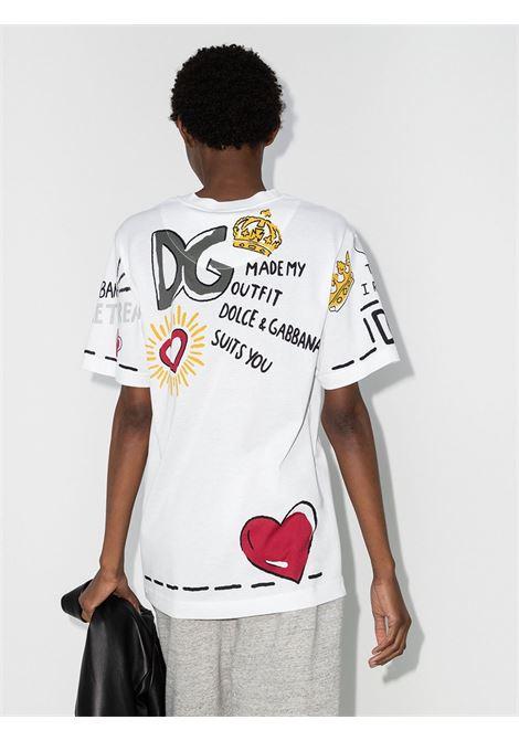T-shirt a manica corta in cotone bianco con scollo tondore DOLCE & GABBANA | T-shirt | F8M66T-HI7EHHW2PA