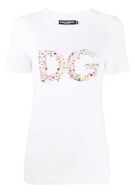 White cotton floral DG logo short-sleeve T-shirt featuring all-over floral embroidery DOLCE & GABBANA |  | F8M68Z-G7XMEW0800