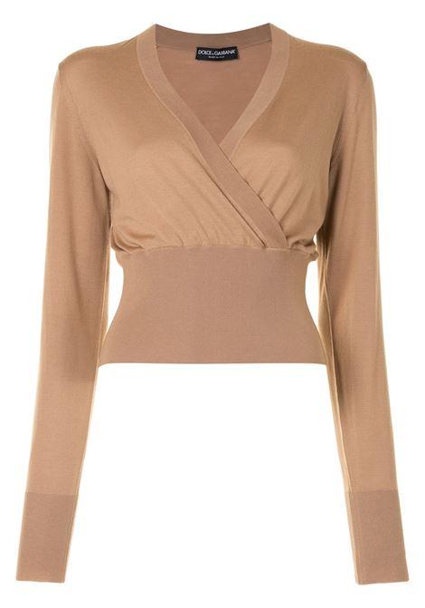 Maglia in lana vergine beige con scollo a V incrociato DOLCE & GABBANA | Maglieria | FX908T-JAVYYM2366