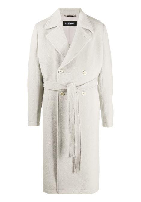 Cappotto in seta bianca con collo a dente DOLCE & GABBANA | Cappotti | G015UT-FU3IKW3789