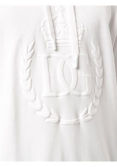 felpa in cotone bianco con logo Dolce & Gabbana  tono su tono con cappuccio con coulisse DOLCE & GABBANA | Felpe | G9OF9Z-G7WNIW0111
