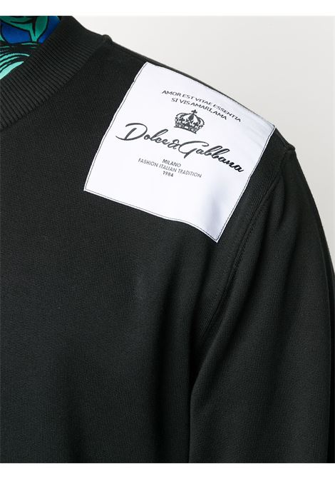 black cotton sweatshirt with white cotton panel on the shoulders DOLCE & GABBANA |  | G9OW6Z-G7WTBN0000