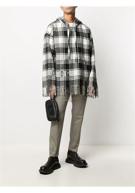 Poncho in maglia a quadri con frange in misto lana bianco e nero DOLCE & GABBANA | Mantella | G9TA9T-HJMLGS8100