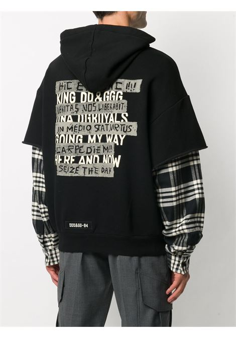 Black cotton blend layered-effect hoodie with long plaid sleeves DOLCE & GABBANA |  | G9TE7Z-FU77GS9000