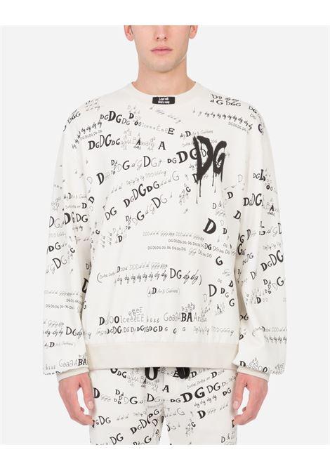 felpa giro collo Carpe Diem in cotone con Dolce & Gabbana logo all over DOLCE & GABBANA | Felpe | G9TF9T-FI74RHJ2HY