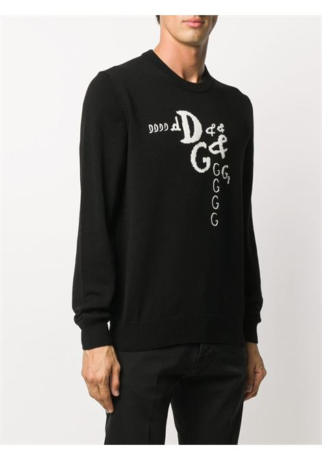 Black and white virgin wool-cashmere blend Dolce & Gabbana logo doodle jumper   DOLCE & GABBANA |  | GXA63Z-JAM3DS9000
