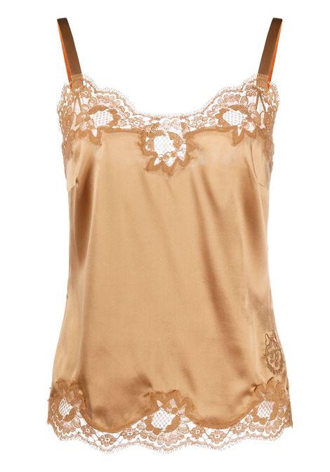 Top con finiture in pizzo in misto seta color oro DOLCE & GABBANA | Camicie | O7B09T-FUAD8M0887