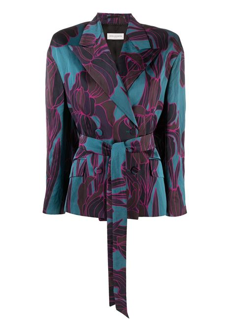 Petrol blue and purple cotton-blend Bouncy floral-print belted blazer featuring peak lapels DRIES VAN NOTEN |  | BOUNCY BIS-1353508