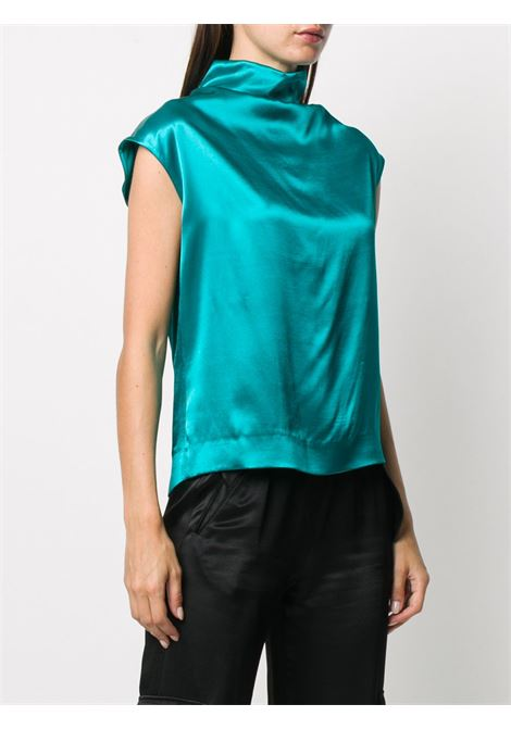 Blusa blu turchese Chiala in raso a collo alto DRIES VAN NOTEN | Camicie | CHIALA-1042503