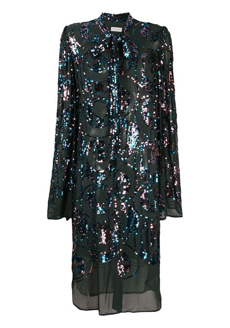 Black sequin embellished dress with front bow DRIES VAN NOTEN |  | DOVESY EMB-1424605
