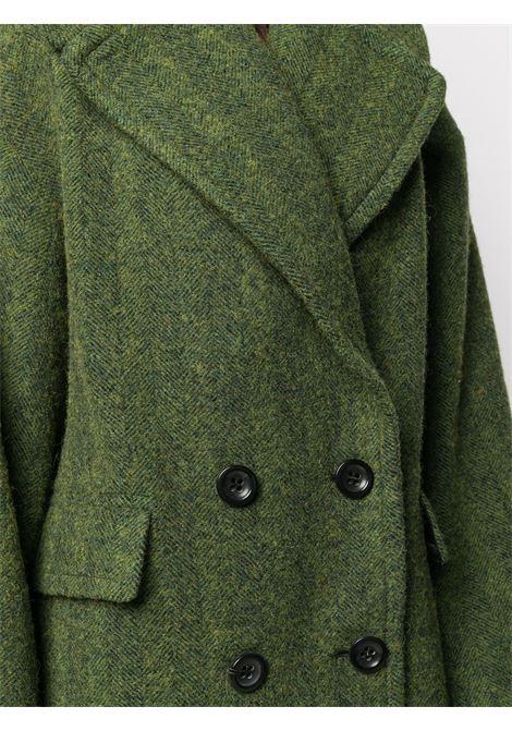 Green alpaca-wool blend Riviera double-breasted coat featuring herringbone DRIES VAN NOTEN |  | RIVIETA SHORT-1260604