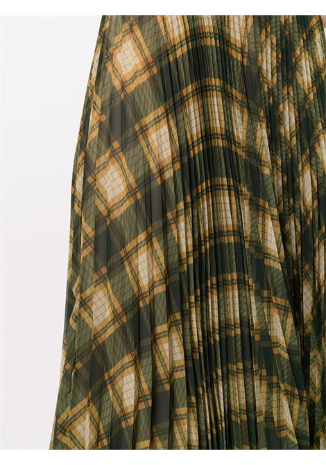 Gonna plissettata a quadri Sax in seta verde scuro, gialla e beige DRIES VAN NOTEN   Gonne   SAX-1228977