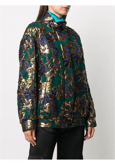 Dark green,navy blue and gold-tone wool-blend Vandi embroidered-floral jacket featuring high neck DRIES VAN NOTEN |  | VANDI-1348605