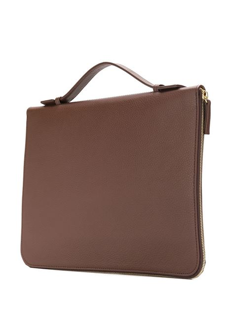 brown calf leather briefcase with gold details ELEVENTY |  | 979BO0116-BOR2800105
