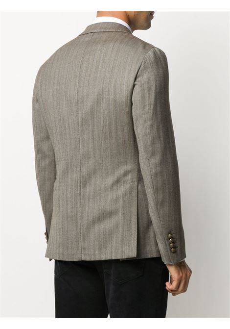 Grey wool blend herringbone double-breasted blazer featuring  peak lapels ELEVENTY |  | B70GIAA06-TES0B03505
