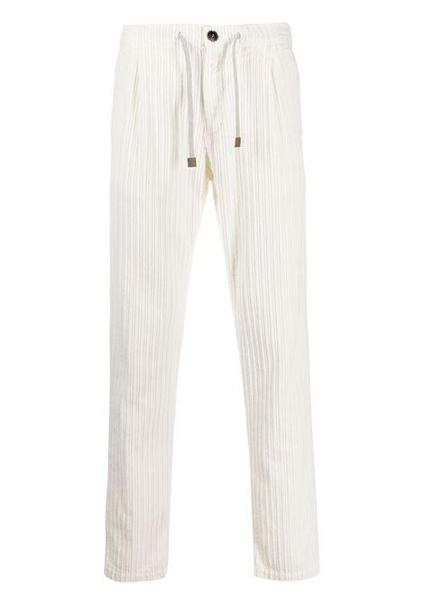 Pantaloni bianchi in cotone a gamba dritta con coulisse ELEVENTY | Pantaloni | B70PANB01-TET0B00700