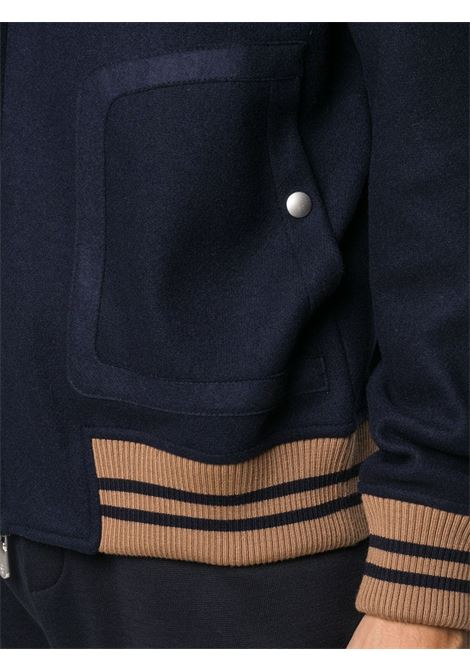 Blue wool jacket with stripe detail featuring  elasticated brown cuffs ELEVENTY |  | B71GBTB01-MAG0B03311