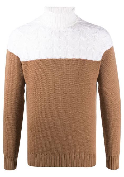 Maglione girocollo color block in lana avorio e marrone cammello ELEVENTY | Maglieria Moda | B71MAGB11-MAG0B03600-04A
