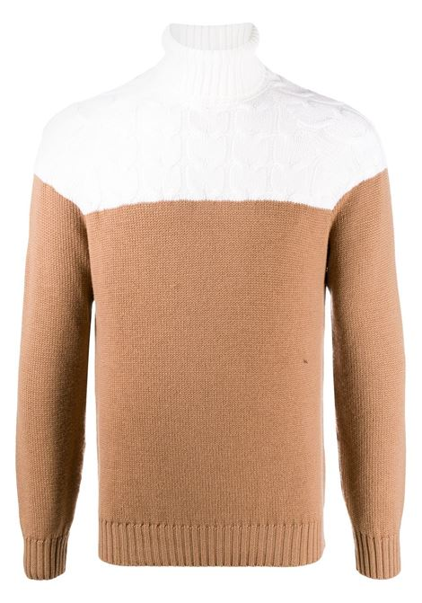 colour block camel and white roll neck wool jumper ELEVENTY |  | B71MAGB11-MAG0B03600-04