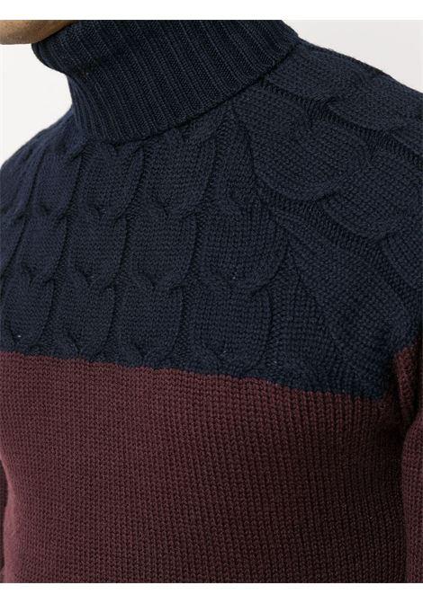 Burgundy and dark blue wool two-tone roll-neck jumper  ELEVENTY |  | B71MAGB11-MAG0B03611-10