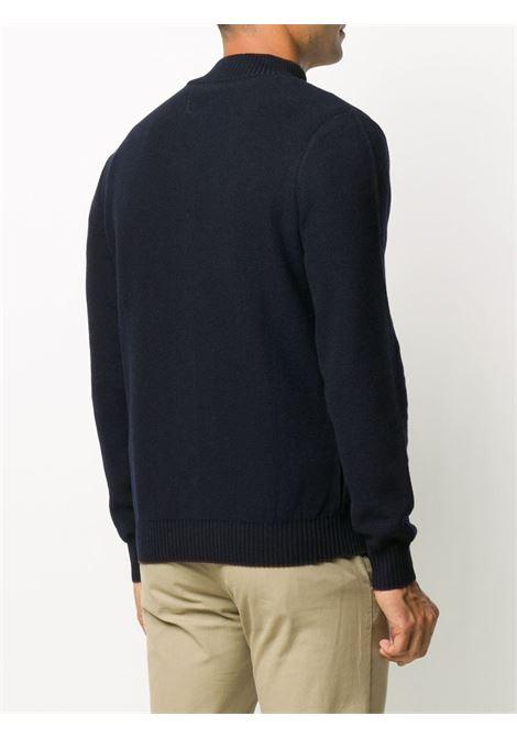 Cardigan blu scuro in lana con bottoni con bordo a costine ELEVENTY | Cardigan | B71MAGB15-MAG0B03811-10