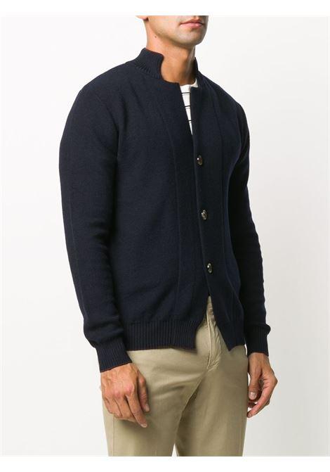 Dark blue wool buttoned cardigan featuring ribbed edge ELEVENTY |  | B71MAGB15-MAG0B03811-10