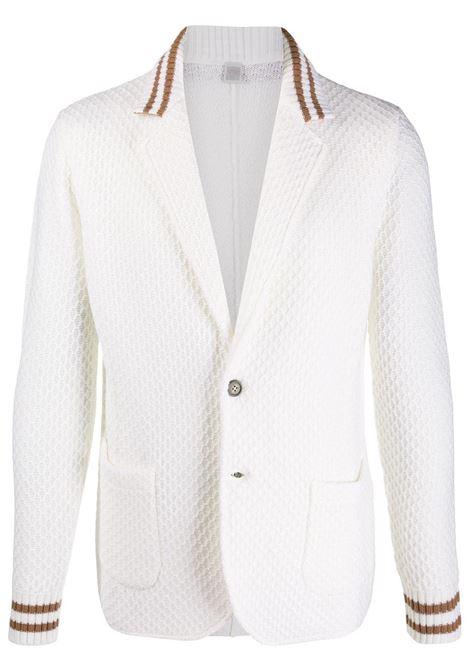White eool long-sleeved waffle knit blazer   ELEVENTY |  | B71MAGB27-MAG0B03900-04A