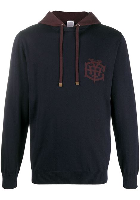 Navy blue and bordeaux Eleventy logo patch wool hoodie ELEVENTY |  | B71MAGB31-MAG0B04511