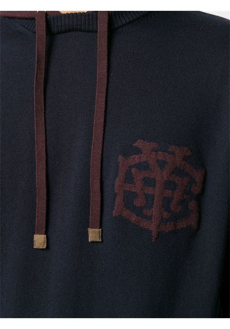 Felpa in lana con patch logo Eleventy blu navy e bordeaux ELEVENTY | Maglieria | B71MAGB31-MAG0B04511