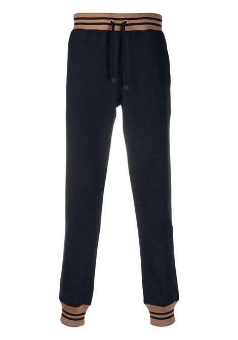 Pantaloni sportivi blu scuro in misto lana con costruzione in maglia ELEVENTY | Pantaloni | B71PANB02-TES0B19711