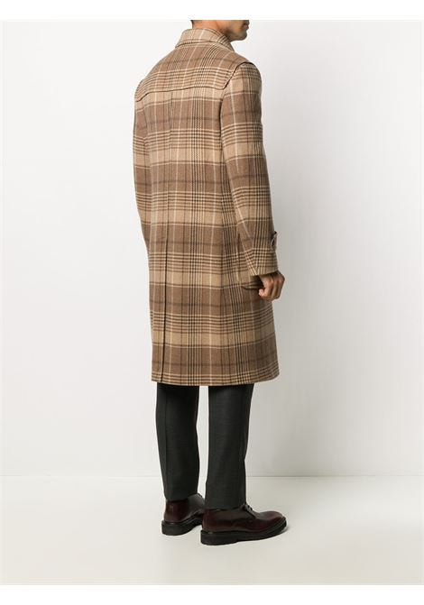 Camel brown wool-cashmere blend houndstooth check duffle coat featuring houndstooth print ELEVENTY      B75CAPB07-TESB11004