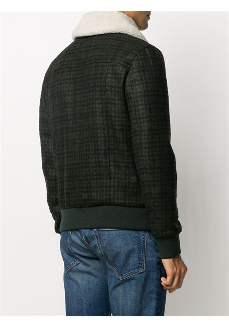 Green wool blend shearling-collar jacket featuring houndstooth print ELEVENTY |  | B75GBTB10-TES0B10807