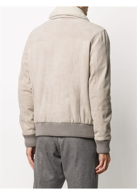 Bomber in camoscio beige chiaro e pelliccia di lama con finiture in shearling ELEVENTY | Giubbini | B75GBTB17-PEL0B00302