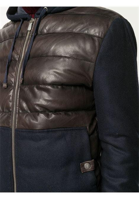 Giacca con pannelli a contrasto in pelle di serpente blu e marrone e cashmere-lana trapuntata ELEVENTY | Giubbini | B75GBTB21-PEL0B00605