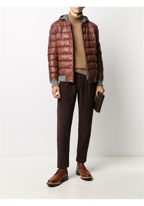 Camel brown sheepskin quilted jacket featuring quilted layered design ELEVENTY |  | B75GBTB23-PEL0B00604