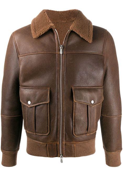 giacca da aviatore in pelle marrone con interno foderato in shearling ELEVENTY | Giubbini | B75GBTB36-SHY0B00204