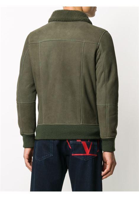giacca da aviatore in pelle nabuk verde militare con fodera in shearling ELEVENTY | Giubbini | B75GBTB36-SHY0B00420