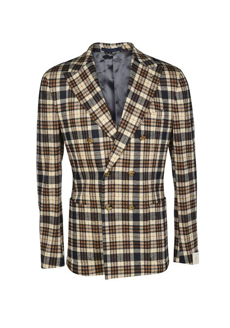 midnight blue and brown cotton-wool blend double-breasted tartan blazer  ELEVENTY |  | B75GIAB02-TES0B09104