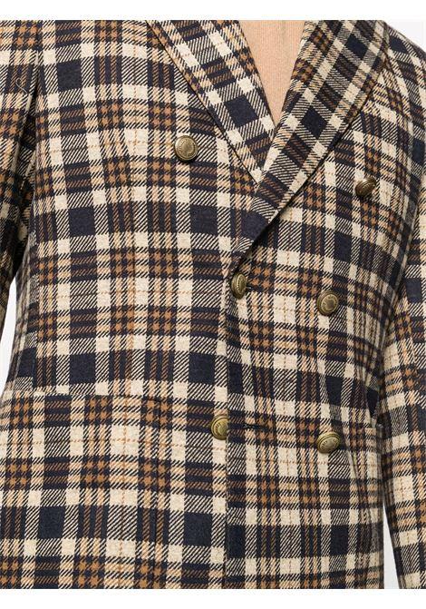 Giacca doppiopetto in tartan marrone / midnight blue ELEVENTY | Giacche | B75GIAB02-TES0B09104