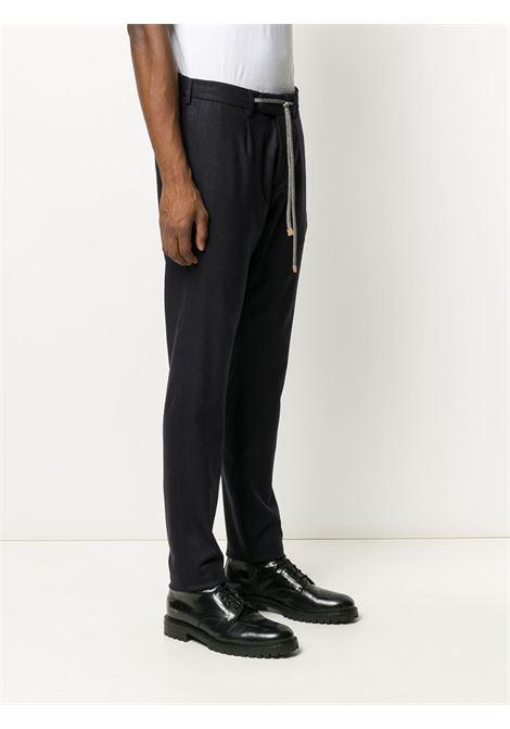 Pantaloni sartoriali blu in misto cashmere con coulisse ELEVENTY | Pantaloni | B75PANB21-TES0B00611
