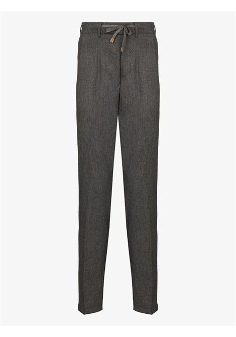 Grey wool-blend tailored wool track pants featuring drawstring fastening waist ELEVENTY |  | B75PANB21-TES0B00614