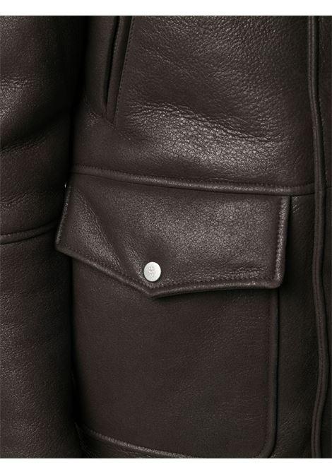 Cappotto in pelle foderato in shearling color cioccolato fondente con colletto alla coreana ELEVENTY | Giubbini | B75SPOB01-SHY0B00205