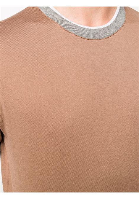 t-shirt girocollo in cotone marrone cammello e grigio chiaro ELEVENTY | Maglieria | B75TSHB02-TSH2600104