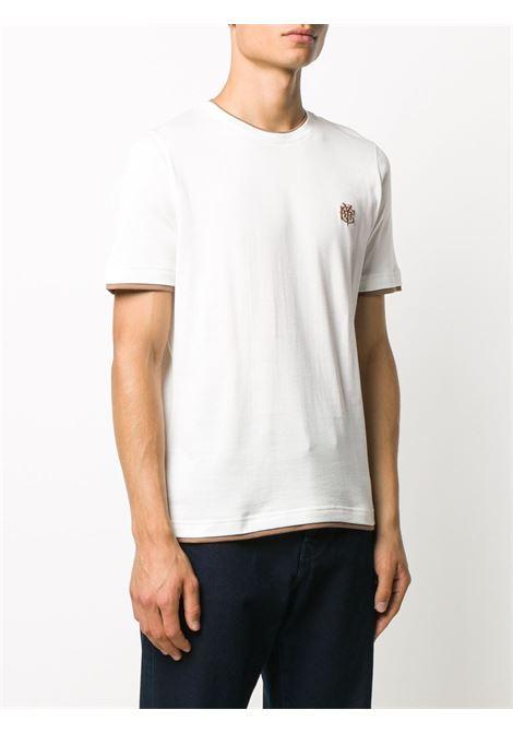 t.shirt in cotone bianco con dettagli cammello ELEVENTY | Maglieria Moda | B75TSHB07-TSH2600101