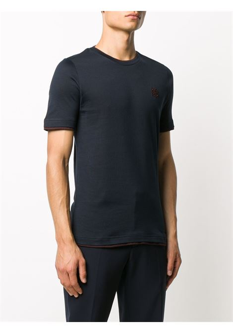 dark navy cotton t.shirt with burgundy details ELEVENTY |  | B75TSHB07-TSH2600111