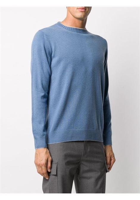 Maglia in cashmere azzurro con bordo in maglia a costine ELEVENTY | Maglieria | B76MAGA30-MAG2400679