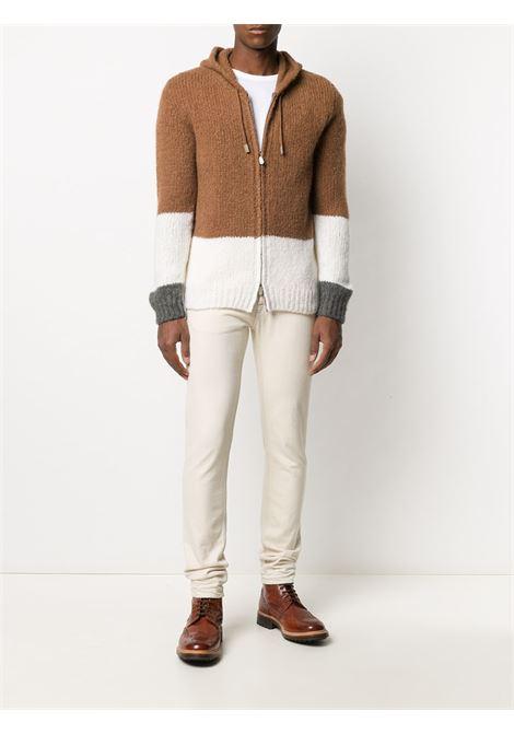 Maglione con zip a blocchi di colore in misto cashmere e alpaca-seta marrone bianco e grigio ELEVENTY | Cardigan | B76MAGB20-MAG0B01504