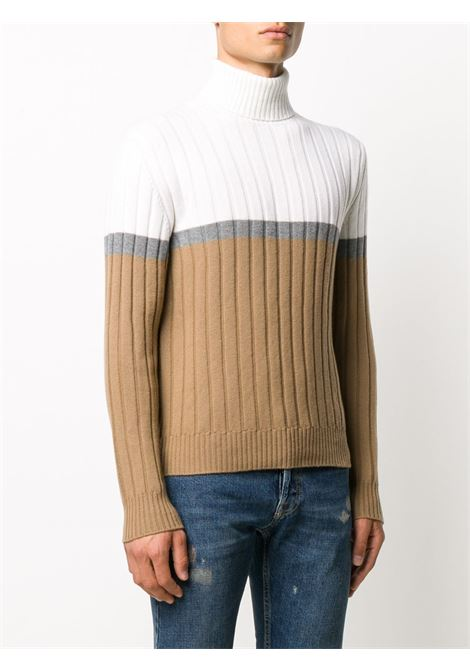 white and beige colour block wool roll neck sweater ELEVENTY |  | B76MAGB15-MAG0B00501-14
